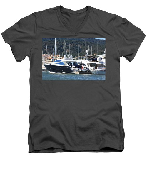 Men's V-Neck T-Shirt featuring the photograph Harbour Docking Scene by Rogerio Mariani