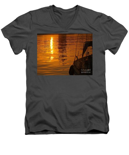 Harbour Sunset Men's V-Neck T-Shirt by Clare Bevan