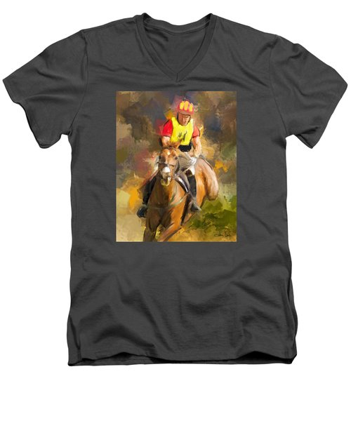 Men's V-Neck T-Shirt featuring the painting Hard Left by Joan Davis