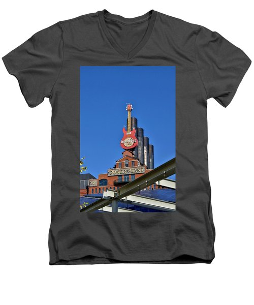 Men's V-Neck T-Shirt featuring the photograph Hard Rock Cafe - Baltimore by Jean Goodwin Brooks