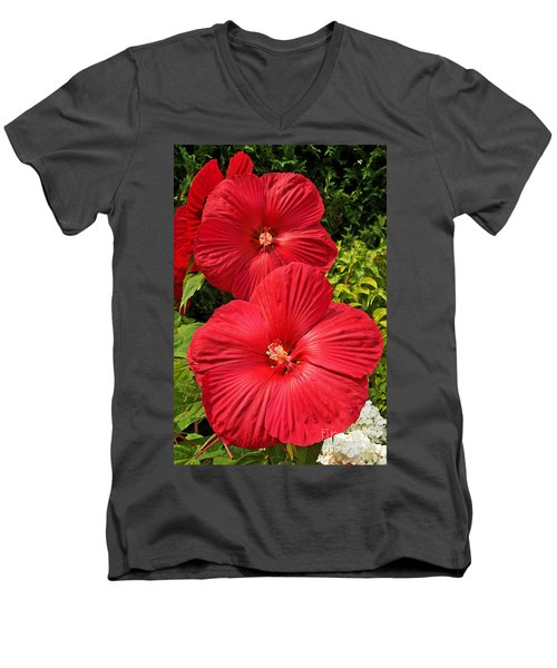Hardy Hibiscus Men's V-Neck T-Shirt by Sue Smith
