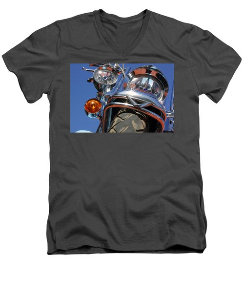 Men's V-Neck T-Shirt featuring the photograph Harley Close Up by Shoal Hollingsworth