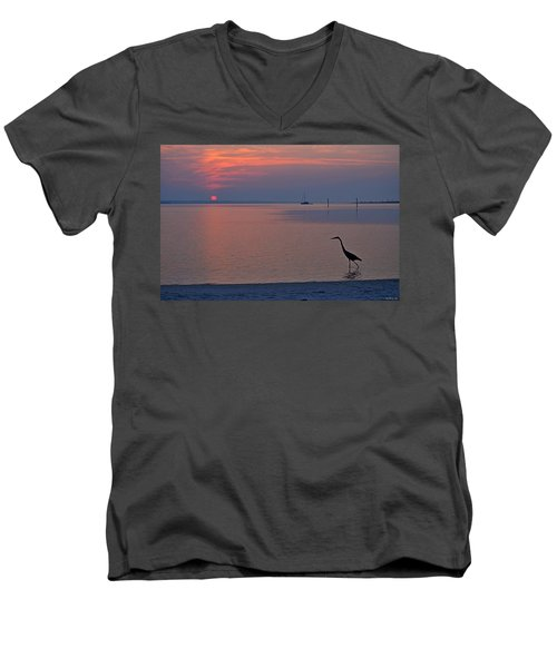 Men's V-Neck T-Shirt featuring the photograph Harry The Heron Fishing On Santa Rosa Sound At Sunrise by Jeff at JSJ Photography