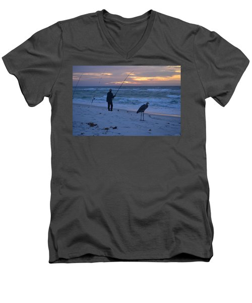 Men's V-Neck T-Shirt featuring the photograph Harry The Heron Fishing With Fisherman On Navarre Beach At Sunrise by Jeff at JSJ Photography