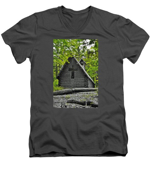 Hartwick Pines Chapel Bwg Men's V-Neck T-Shirt by Daniel Thompson