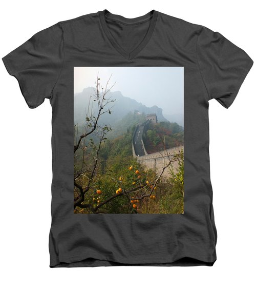Harvest Time At The Great Wall Of China Men's V-Neck T-Shirt by Lucinda Walter