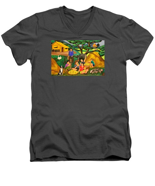 Men's V-Neck T-Shirt featuring the painting Harvest Time by Lorna Maza