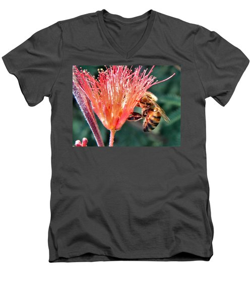 Men's V-Neck T-Shirt featuring the photograph Harvesting by Deb Halloran