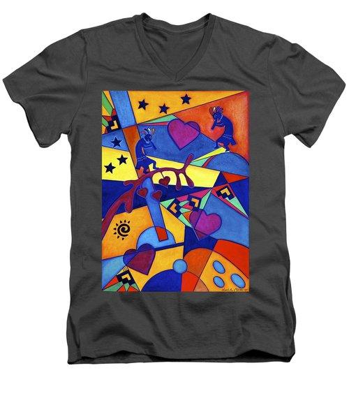 Harvesting The Love Kokopelli Art  Men's V-Neck T-Shirt