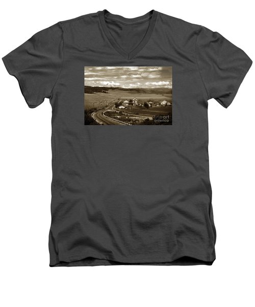 Hatton Ranch Carmel Valley From Highway One California  1940 Men's V-Neck T-Shirt by California Views Mr Pat Hathaway Archives