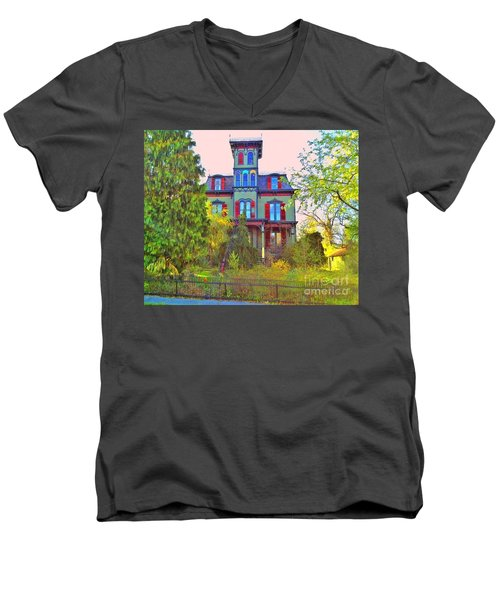 Men's V-Neck T-Shirt featuring the photograph Hauntingly Victorian  by Becky Lupe