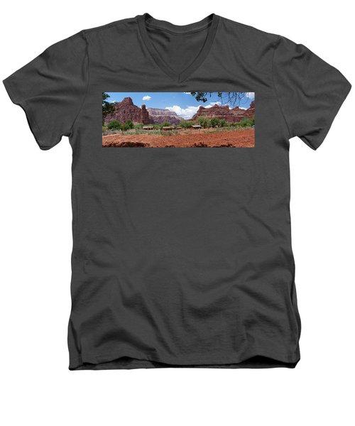 Men's V-Neck T-Shirt featuring the photograph Havasupai Village Panorama by Alan Socolik