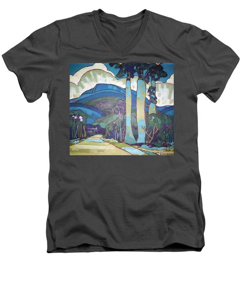 Hawaiian Landscape Men's V-Neck T-Shirt by Pg Reproductions
