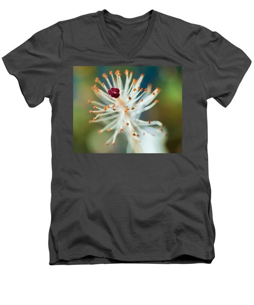 Hawaiian White Hibiscus Men's V-Neck T-Shirt