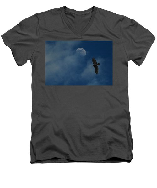 Men's V-Neck T-Shirt featuring the photograph Hawk And Moon Coming Out Of The Mist by Raymond Salani III