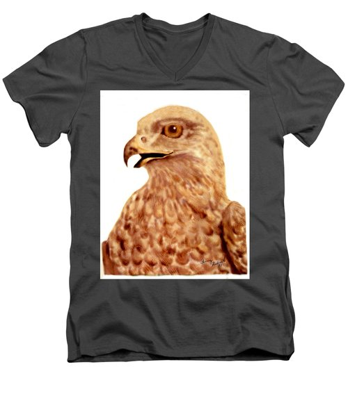 Hawk Men's V-Neck T-Shirt by Terry Frederick
