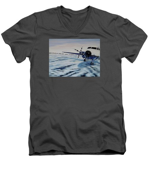 Men's V-Neck T-Shirt featuring the painting Hawker - Airplane On Ice by Marilyn  McNish