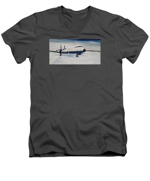 Men's V-Neck T-Shirt featuring the painting Hawker - Waiting Out The Storm by Marilyn  McNish