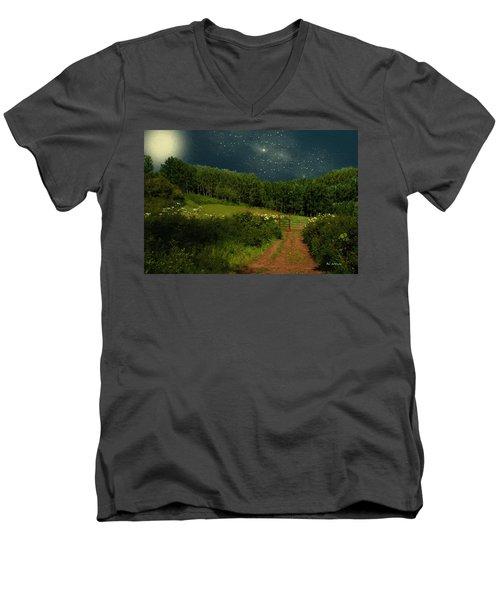 Hazy Moon Meadow Men's V-Neck T-Shirt by RC deWinter