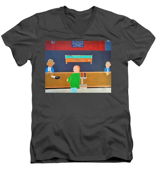 He Did It Men's V-Neck T-Shirt by Dennis ONeil
