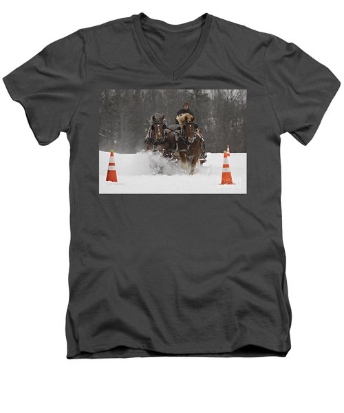 Heading To The Finish Men's V-Neck T-Shirt by Carol Lynn Coronios