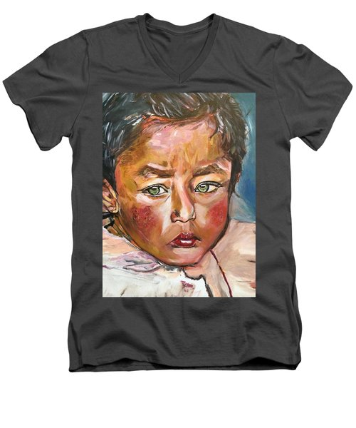 Men's V-Neck T-Shirt featuring the painting Heal The World by Belinda Low