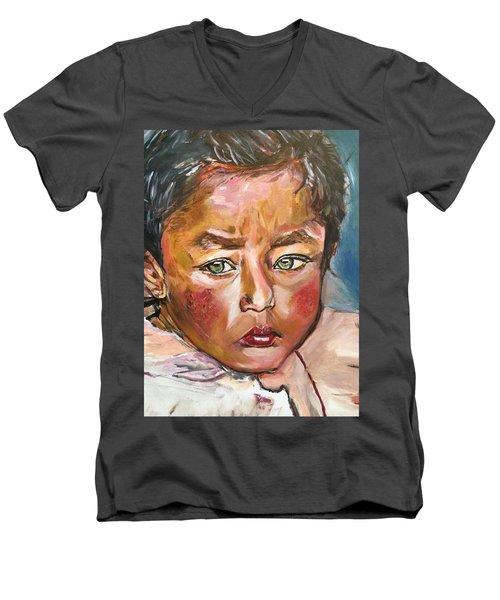Heal The World Men's V-Neck T-Shirt by Belinda Low