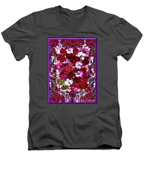 Men's V-Neck T-Shirt featuring the mixed media Healing Flowers For You by Ray Tapajna
