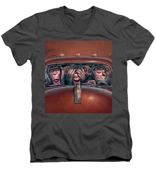 Hear No Evil See No Evil Speak No Evil Men's V-Neck T-Shirt by Mark Fredrickson