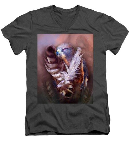 Men's V-Neck T-Shirt featuring the mixed media Heart Of A Hawk by Carol Cavalaris