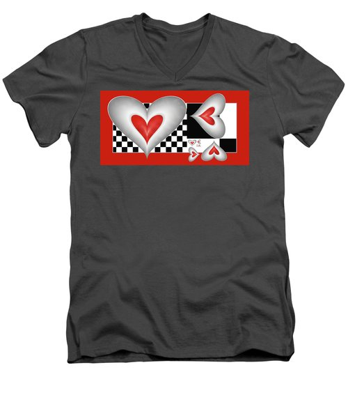 Hearts On A Chessboard Men's V-Neck T-Shirt