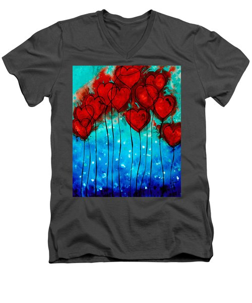 Hearts On Fire - Romantic Art By Sharon Cummings Men's V-Neck T-Shirt