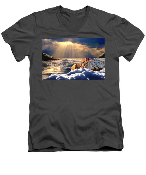 Heavenly Ascension Men's V-Neck T-Shirt by Ron Chambers