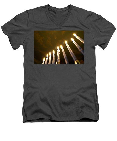 Heavenly Lights Men's V-Neck T-Shirt by Tikvah's Hope
