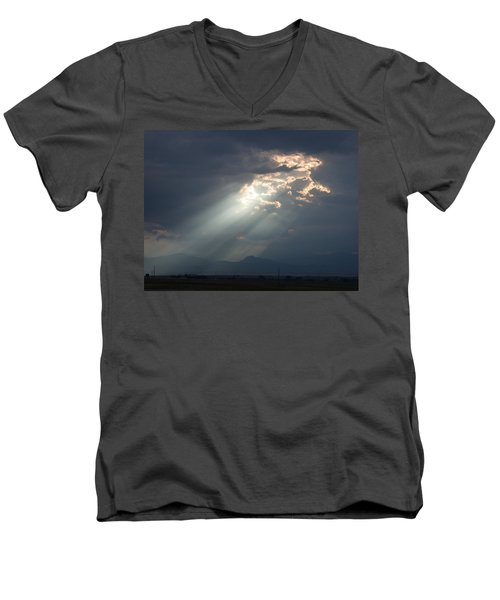 Men's V-Neck T-Shirt featuring the photograph Heavenly Rays by Shane Bechler