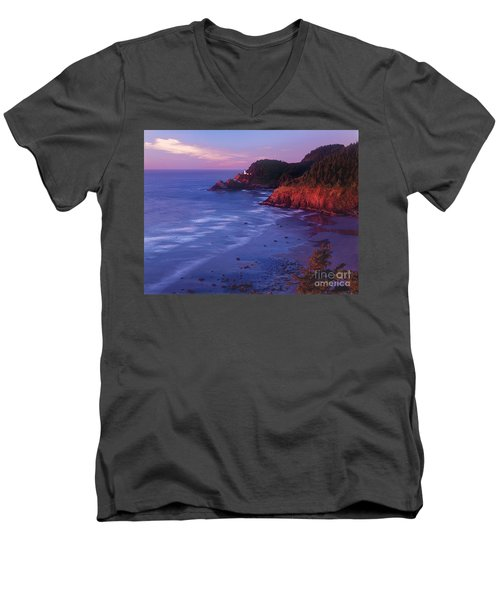 Men's V-Neck T-Shirt featuring the photograph Heceta Head Lighthouse At Sunset Oregon Coast by Dave Welling