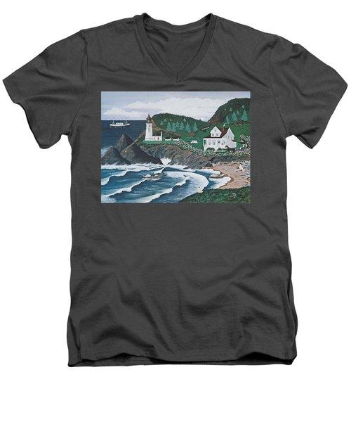 Heceta Lighthouse Men's V-Neck T-Shirt by Jennifer Lake