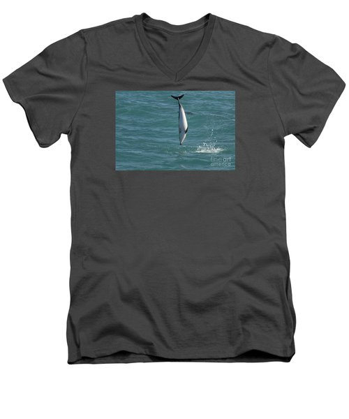Hector Dolphin Diving Men's V-Neck T-Shirt by Loriannah Hespe