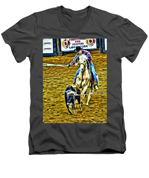 Men's V-Neck T-Shirt featuring the photograph Heeling by Alice Gipson