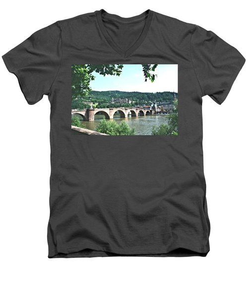 Heidelberg Schloss Overlooking The Neckar Men's V-Neck T-Shirt by Gordon Elwell