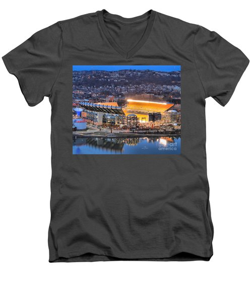 Heinz Field At Night Men's V-Neck T-Shirt