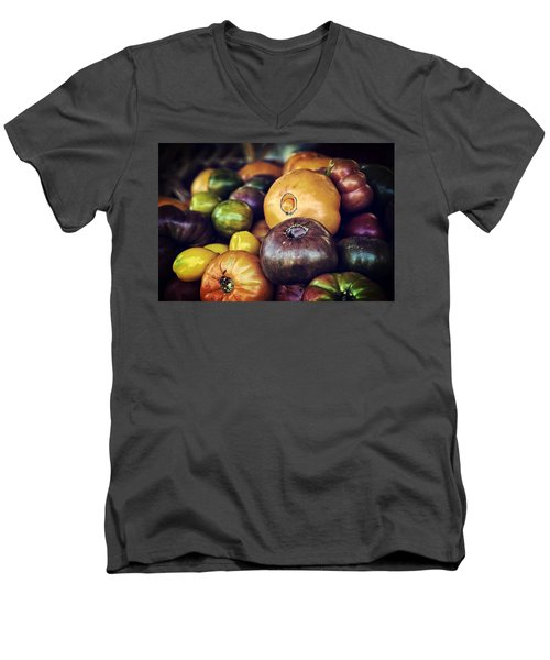 Heirloom Tomatoes At The Farmers Market Men's V-Neck T-Shirt