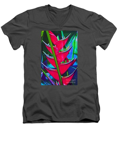 Heliconia Abstract Men's V-Neck T-Shirt