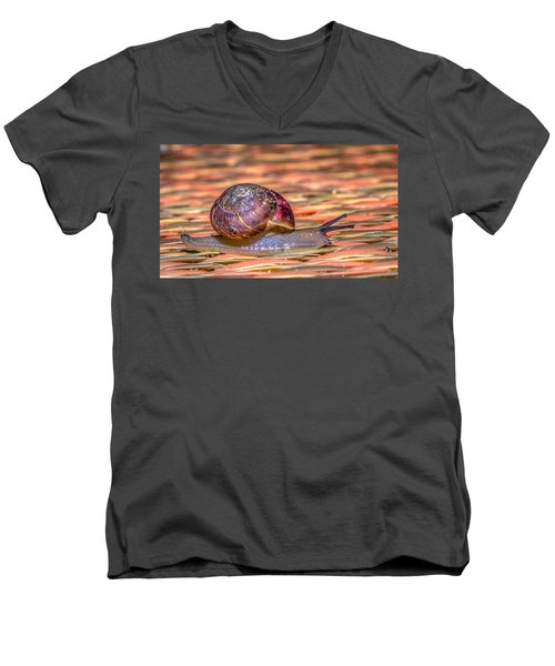 Men's V-Neck T-Shirt featuring the photograph Helix Aspersa by Rob Sellers