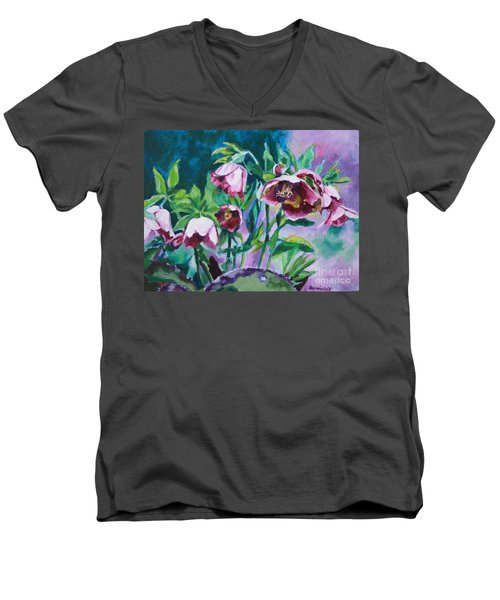 Hellebore Flowers Men's V-Neck T-Shirt by Jan Bennicoff