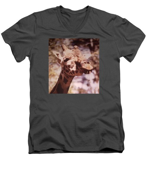 Men's V-Neck T-Shirt featuring the photograph Velvety Giraffe by Belinda Lee