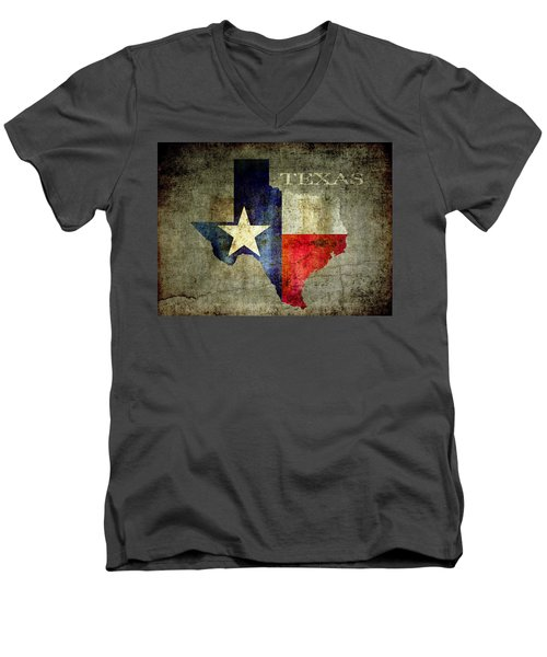 Hello Texas Men's V-Neck T-Shirt by Daniel Hagerman