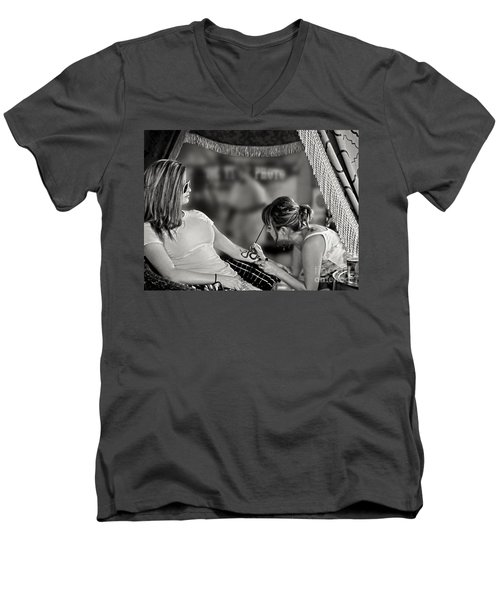 Men's V-Neck T-Shirt featuring the photograph Henna At The Fair by Jennie Breeze