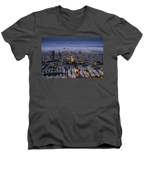 Men's V-Neck T-Shirt featuring the photograph Here Comes The Fog  by Ron Shoshani