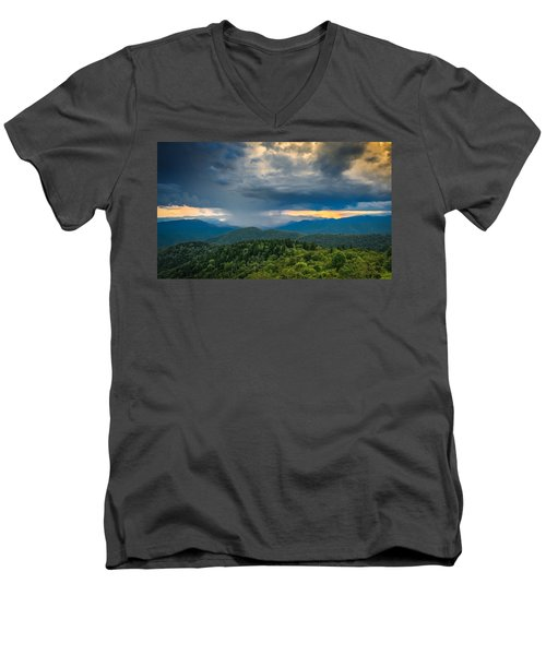 Men's V-Neck T-Shirt featuring the photograph Here Comes The Rain by Joye Ardyn Durham